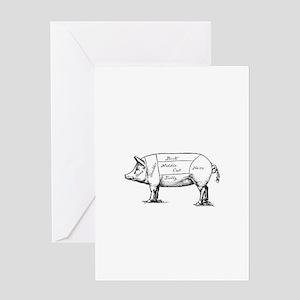 Pig Diagram Greeting Cards