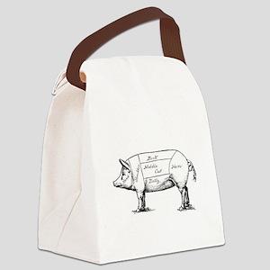 Pig Diagram Canvas Lunch Bag