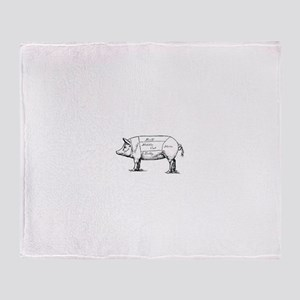 Pig Diagram Throw Blanket