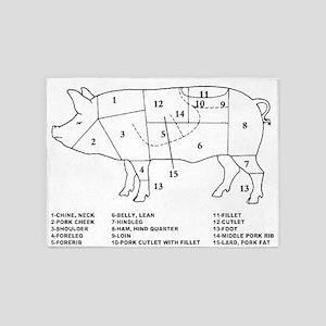 Pig Parts 5'x7'Area Rug