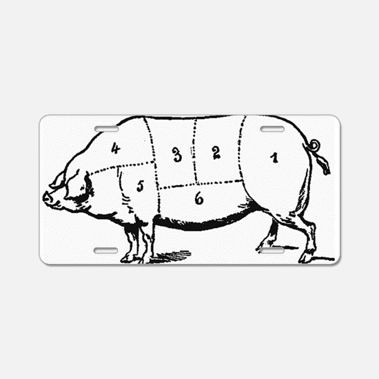 Pig Parts in Numbers Aluminum License Plate