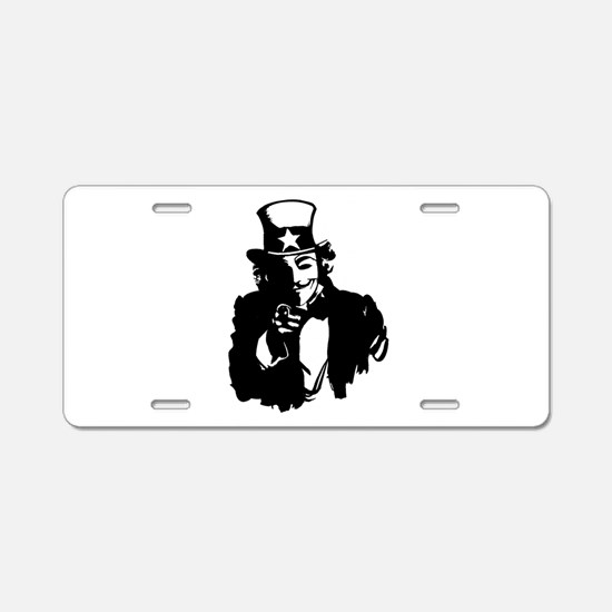 Guy Fawkes as Uncle Sam Aluminum License Plate