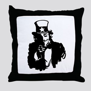Guy Fawkes as Uncle Sam Throw Pillow