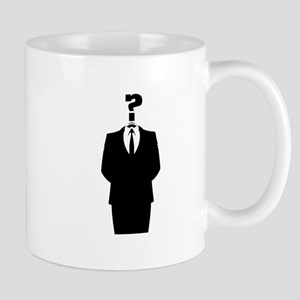 Anonymous Suit with a Question Mark as a Head Mugs