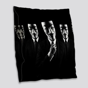 We are anonymous Burlap Throw Pillow