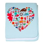 Spain World Cup 2014 Heart baby blanket