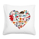 Spain World Cup 2014 Heart Square Canvas Pillow