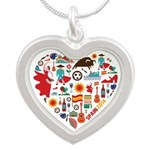 Spain World Cup 2014 Heart Silver Heart Necklace