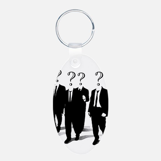 Suits with question marks as heads Keychains