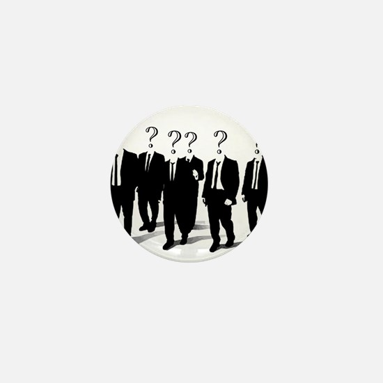 Suits with question marks as heads Mini Button