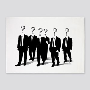 Suits with question marks as heads 5'x7'Area Rug