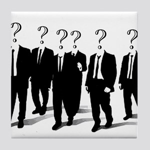 Suits with question marks as heads Tile Coaster