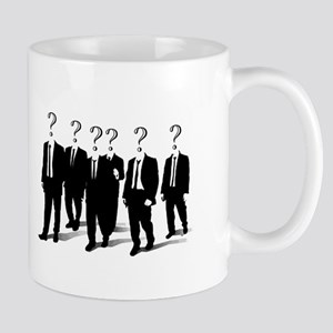 Suits with question marks as heads Mugs