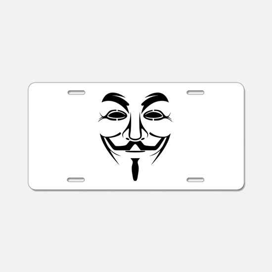 Guy Fawkes Stencil Aluminum License Plate