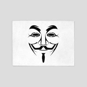 Guy Fawkes Stencil 5'x7'Area Rug