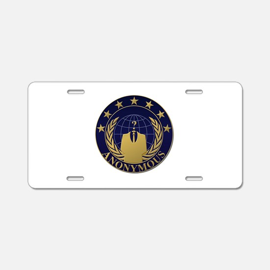 AnonymousSealBlueGold Aluminum License Plate