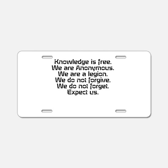 Knowledge is free.1 Aluminum License Plate