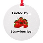 Fueled by Strawberries Round Ornament