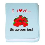 I Love Strawberries baby blanket