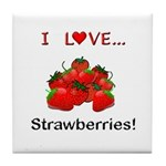 I Love Strawberries Tile Coaster