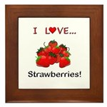 I Love Strawberries Framed Tile