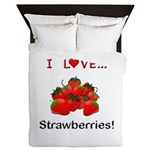 I Love Strawberries Queen Duvet