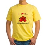 I Love Strawberries Yellow T-Shirt