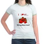 I Love Strawberries Jr. Ringer T-Shirt