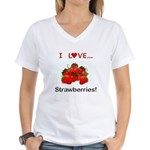I Love Strawberries Women's V-Neck T-Shirt