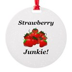Strawberry Junkie Round Ornament