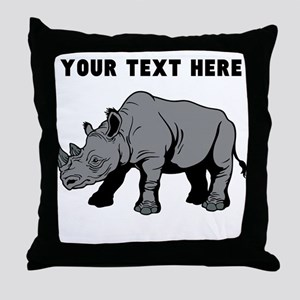Custom Baby Rhino Throw Pillow