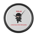 Ninja Construction Manager Large Wall Clock