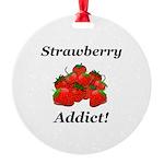 Strawberry Addict Round Ornament