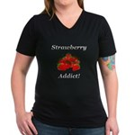 Strawberry Addict Women's V-Neck Dark T-Shirt