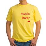 Music Lover   Yellow T-Shirt