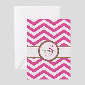 Pink Monogram Chevron Stripe Greeting Cards