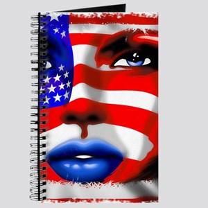 USA Stars and Stripes Woman Portrait Journal