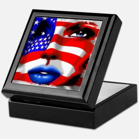 USA Stars and Stripes Woman Portrait Keepsake Box