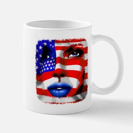 USA Stars and Stripes Woman Portrait Mugs