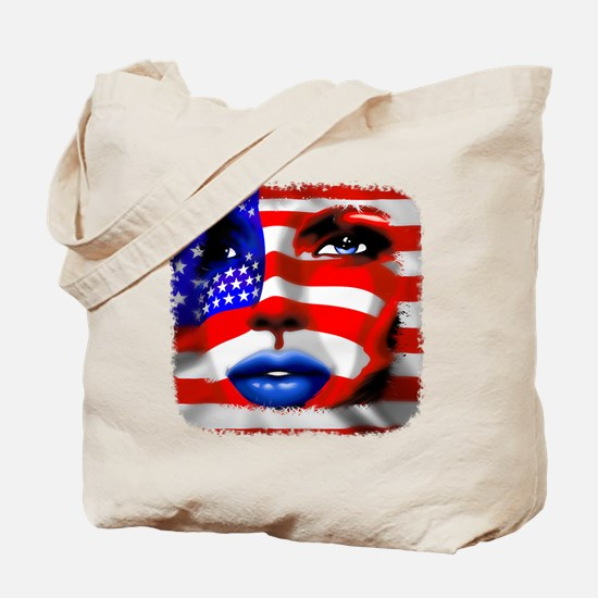 USA Stars and Stripes Woman Portrait Tote Bag