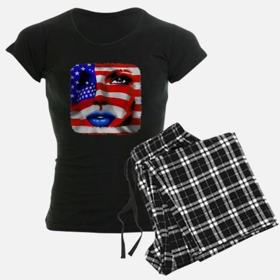USA Stars and Stripes Woman Portrait Pajamas
