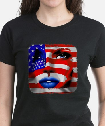 USA Stars and Stripes Woman Portrait T-Shirt