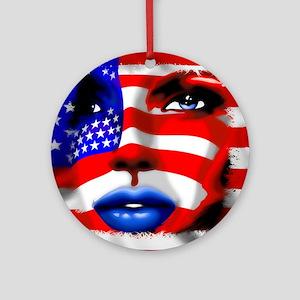 USA Stars and Stripes Woman Portrait Ornament (Rou