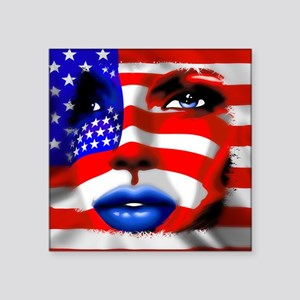 USA Stars and Stripes Woman Portrait Sticker