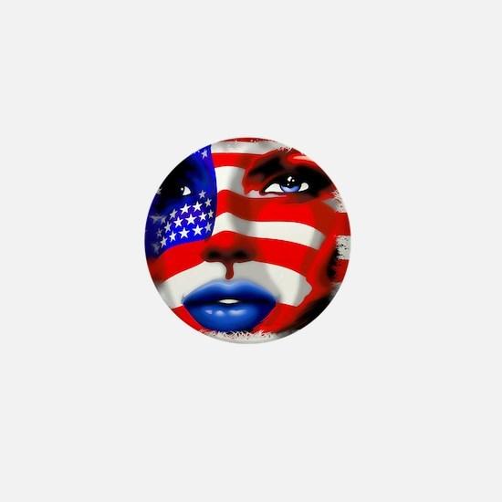 USA Stars and Stripes Woman Portrait Mini Button (