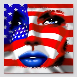 USA Stars and Stripes Woman Portrait Square Car Ma