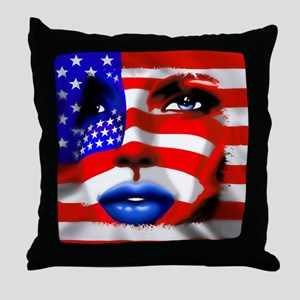 USA Stars and Stripes Woman Portrait Throw Pillow