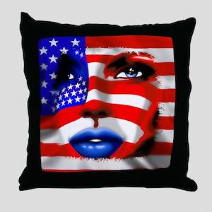 USA Stars and Stripes Woman Portrait Throw Pillow