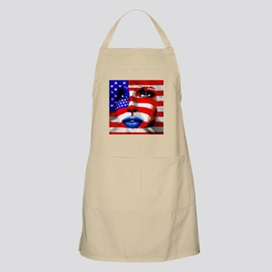 USA Stars and Stripes Woman Portrait Apron