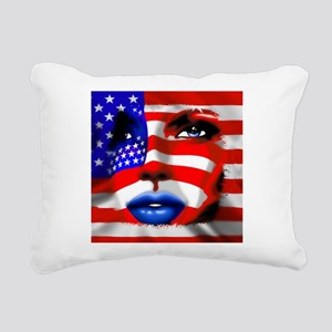 USA Stars and Stripes Woman Portrait Rectangular C